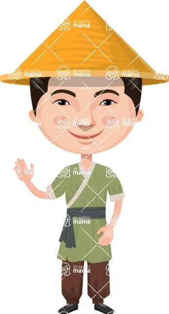 Asian People Vector Cartoon Graphics Maker - Chinese in Traditional Clothes