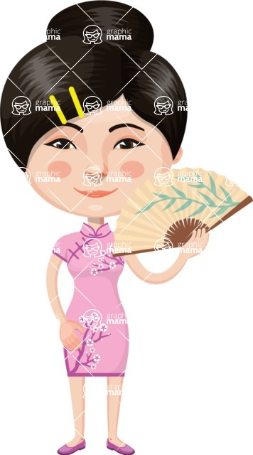 Asian People Vector Cartoon Graphics Maker - Chinese Girl with Fan