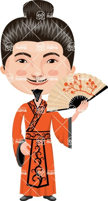 Asian People Vector Cartoon Graphics Maker - Chinese Master with Fan