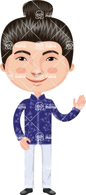 Asian People Vector Cartoon Graphics Maker - Chinese Guy with Hairbun