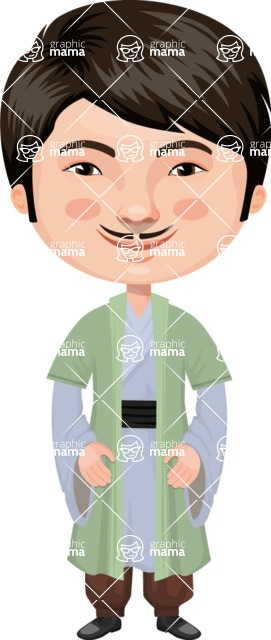 Asian People Vector Cartoon Graphics Maker - Chinese Master in Green