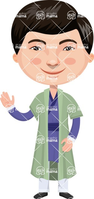 Asian People Vector Cartoon Graphics Maker - Chinese Man Waving