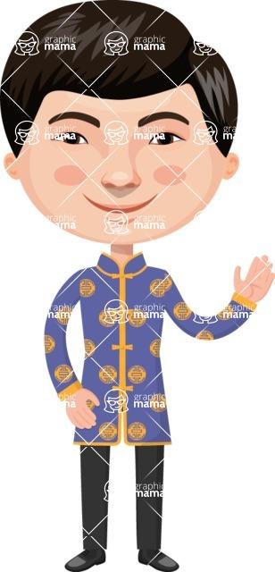 Asian People Vector Cartoon Graphics Maker - Chinese Guy Waving