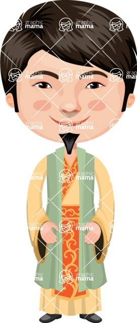 Asian People Vector Cartoon Graphics Maker - Chinese Guy in Yellow Clothing