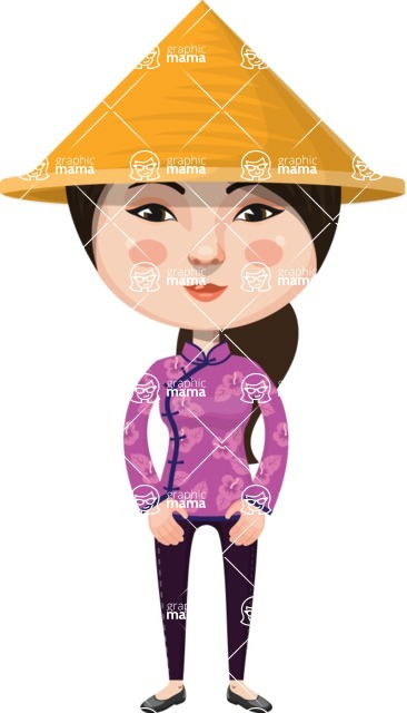Asian People Vector Cartoon Graphics Maker - Chinese Girl with Hat