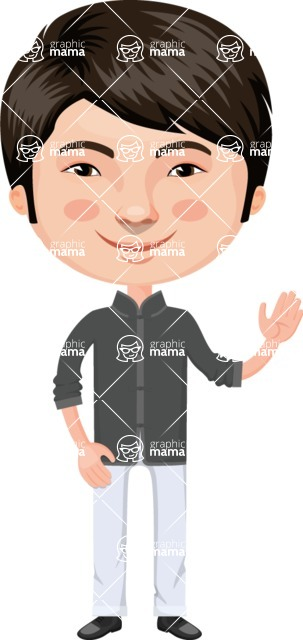 Asian People Vector Cartoon Graphics Maker - Modern Chinese Guy Waving