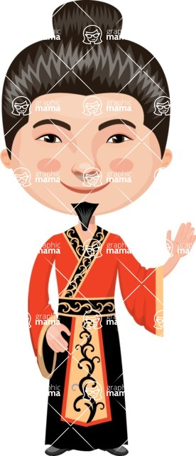 Asian People Vector Cartoon Graphics Maker - Chinese Master Waving