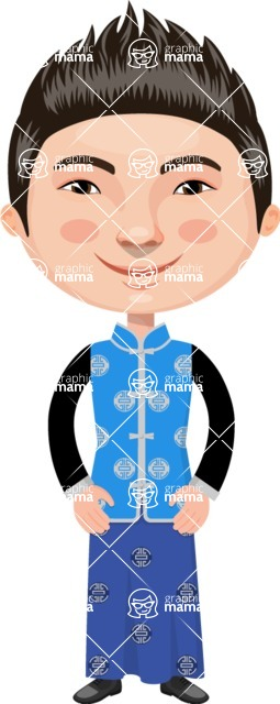 Asian People Vector Cartoon Graphics Maker - Chinese Man in Blue