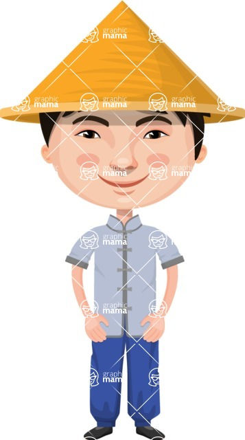 Asian People Vector Cartoon Graphics Maker - Chinese Boy with Conical Hat