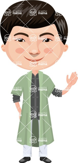 Asian People Vector Cartoon Graphics Maker - Chinese Guy with Green Clothing
