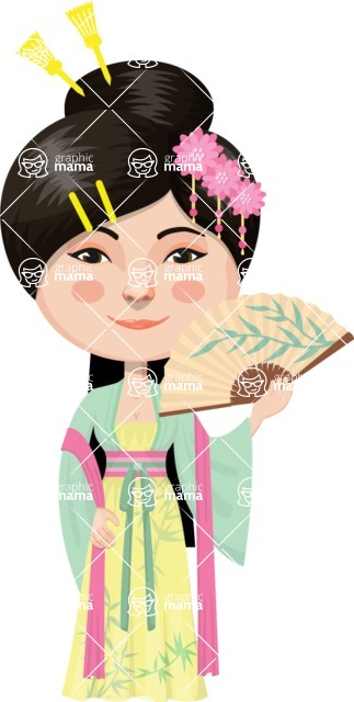 Asian People Vector Cartoon Graphics Maker - Chinese Woman with Fan