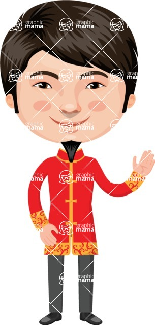 Asian People Vector Cartoon Graphics Maker - Chinese Man with Red Jacket