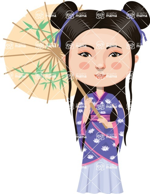 Asian People Vector Cartoon Graphics Maker - Feminine Chinese Lady