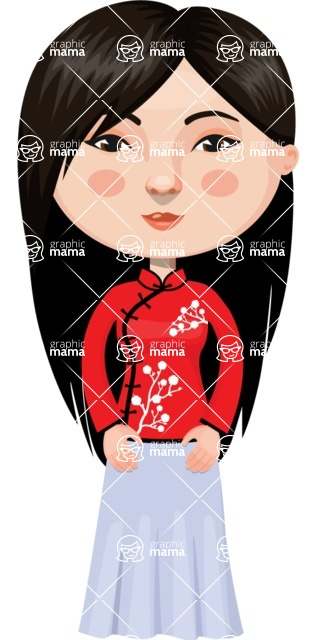 Asian People Vector Cartoon Graphics Maker - Chinese Lady in Red