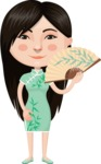 Asian People Vector Cartoon Graphics Maker - Chinese Girl in Green Dress
