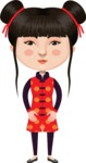 Asian People Vector Cartoon Graphics Maker - Chinese Girl with Hairbun
