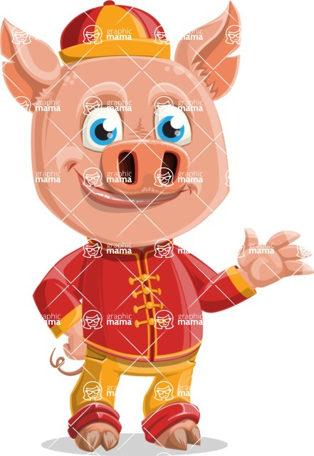 Year of the Pig Character - Vector Pig Cartoon - Normal