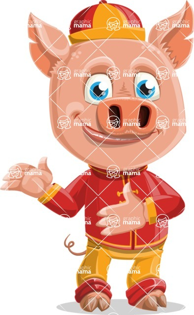 Year of the Pig Character - Vector Pig Cartoon - Point 2