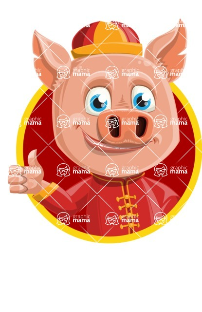 Year of the Pig Character - Vector Pig Cartoon - Shape 1