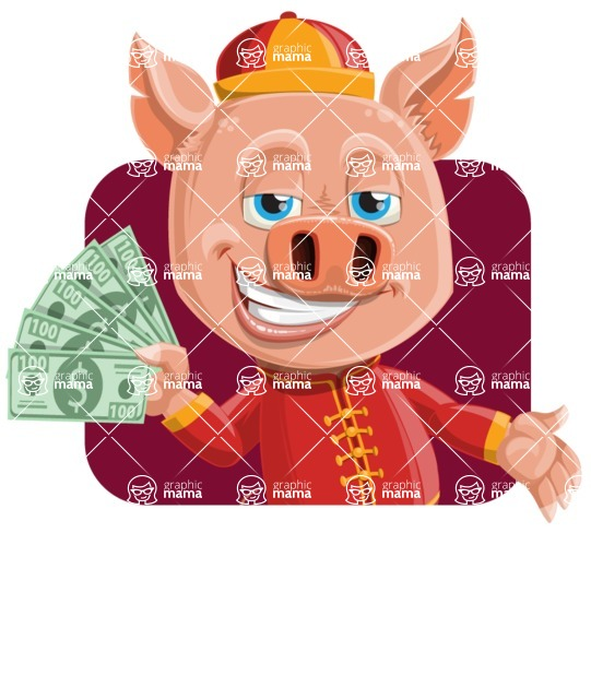 Year of the Pig Character - Vector Pig Cartoon - Shape 2