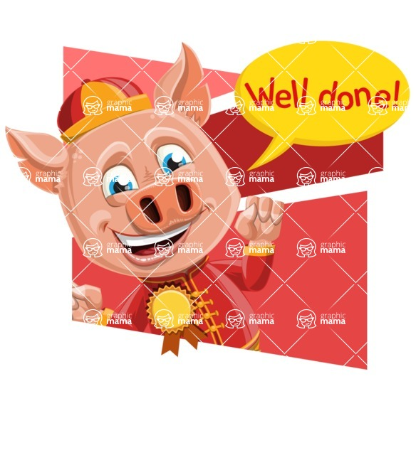Year of the Pig Character - Vector Pig Cartoon - Shape 4