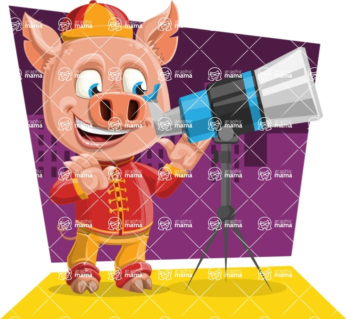 Year of the Pig Character - Vector Pig Cartoon - Shape 5