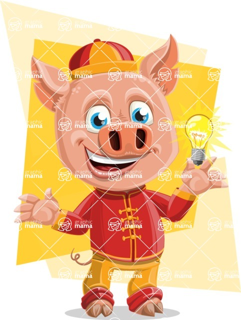 Year of the Pig Character - Vector Pig Cartoon - Shape 7
