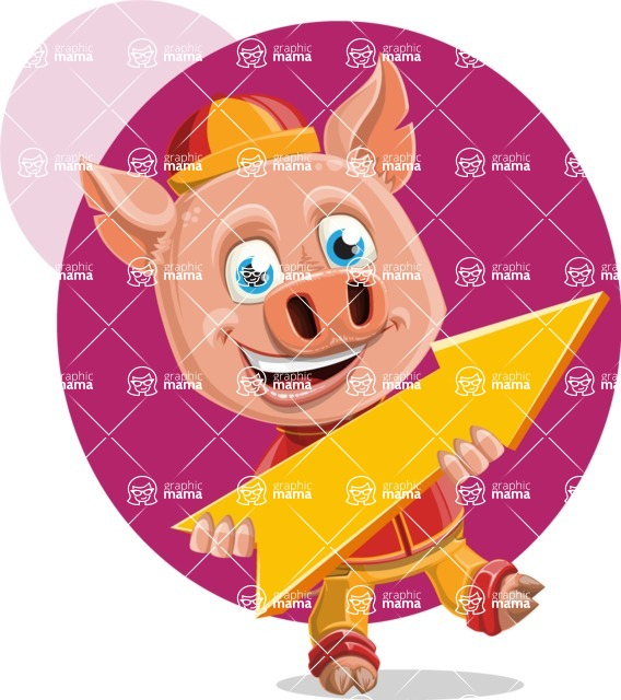 Year of the Pig Character - Vector Pig Cartoon - Shape 8