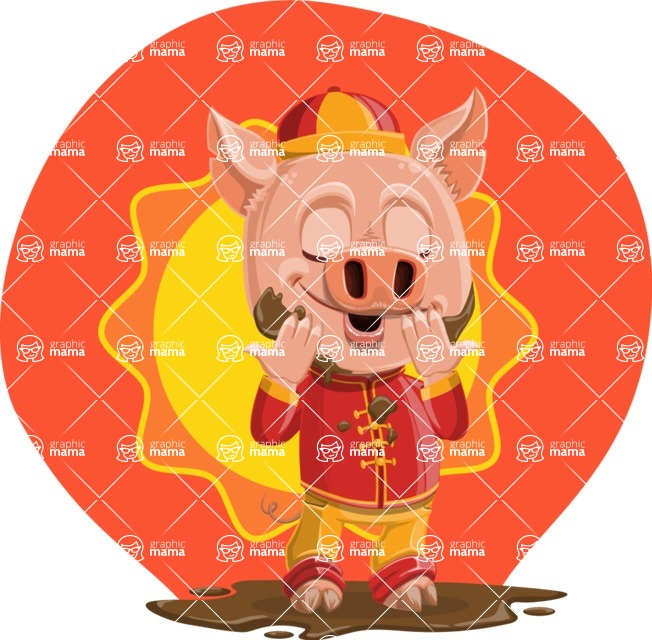 Year of the Pig Character - Vector Pig Cartoon - Shape 12