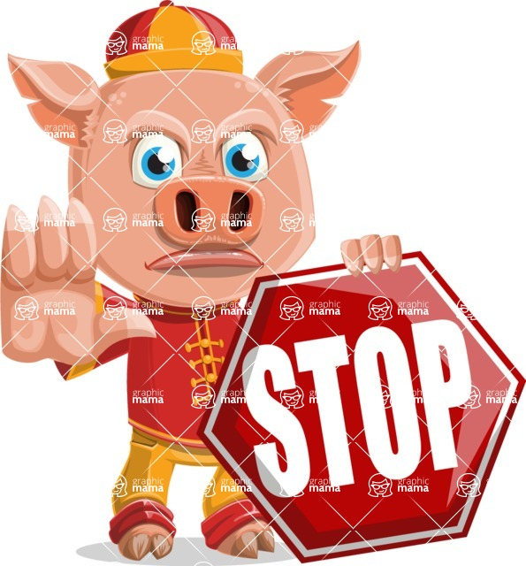 Year of the Pig Character - Vector Pig Cartoon - Stop 2