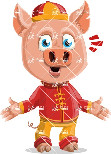 Year of the Pig Character - Vector Pig Cartoon - Stunned
