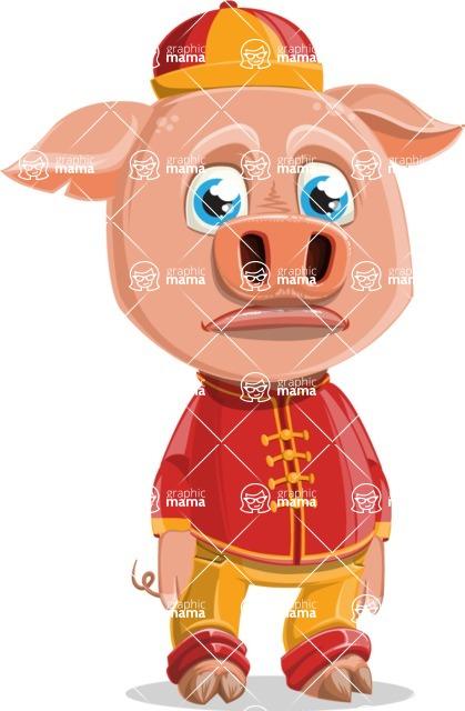 Year of the Pig Character - Vector Pig Cartoon - Sad