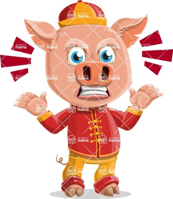 Year of the Pig Character - Vector Pig Cartoon - Angry