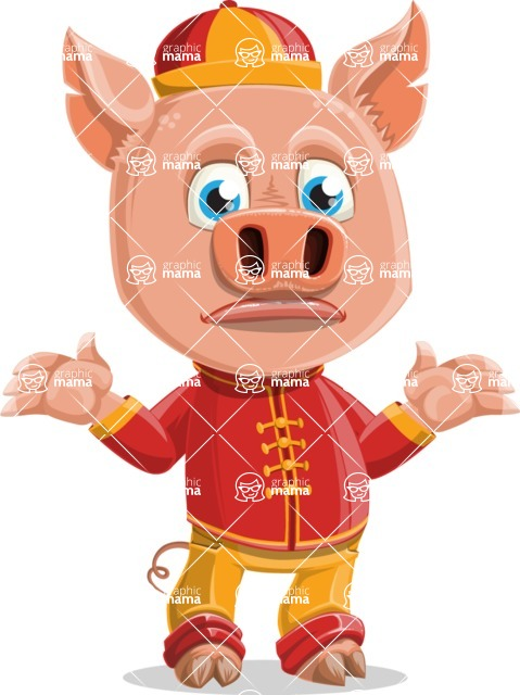 Year of the Pig Character - Vector Pig Cartoon - Lost