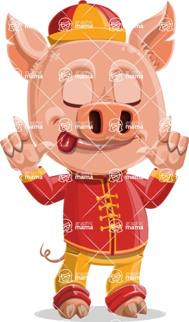 Year of the Pig Character - Vector Pig Cartoon - Silly Face