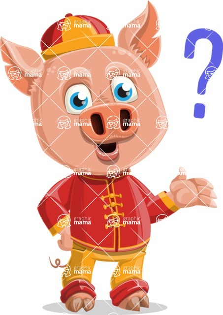 Year of the Pig Character - Vector Pig Cartoon - Confused
