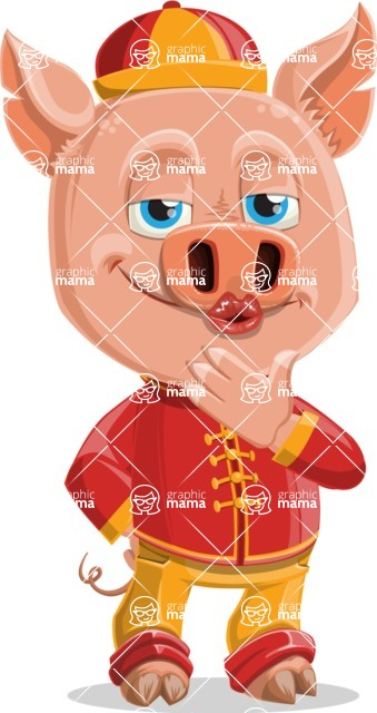 Year of the Pig Character - Vector Pig Cartoon - Making Face