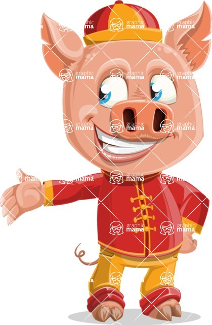 Year of the Pig Character - Vector Pig Cartoon - Show