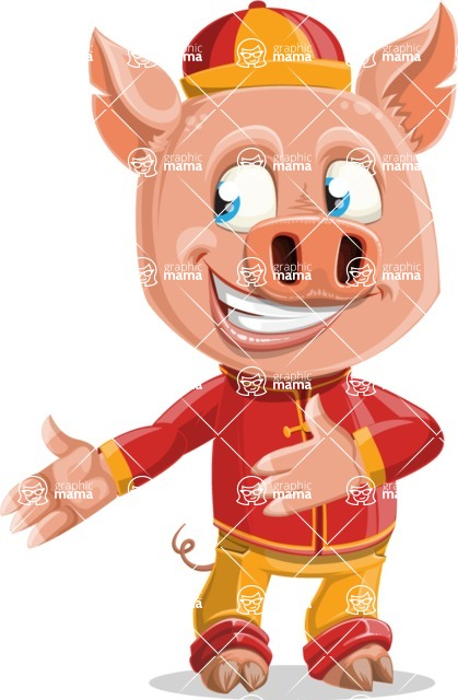 Year of the Pig Character - Vector Pig Cartoon - Show 2