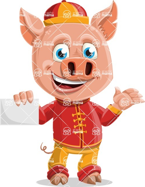 Year of the Pig Character - Vector Pig Cartoon - Sign 1