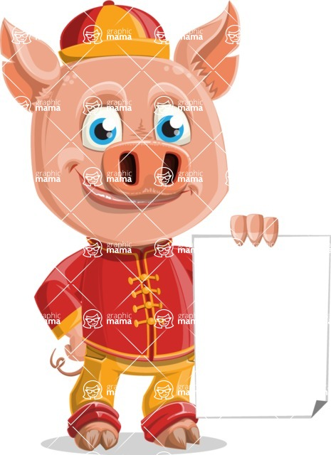 Year of the Pig Character - Vector Pig Cartoon - Sign 2