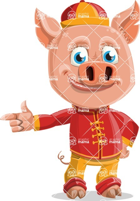 Year of the Pig Character - Vector Pig Cartoon - Point