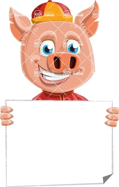 Year of the Pig Character - Vector Pig Cartoon - Sign 5