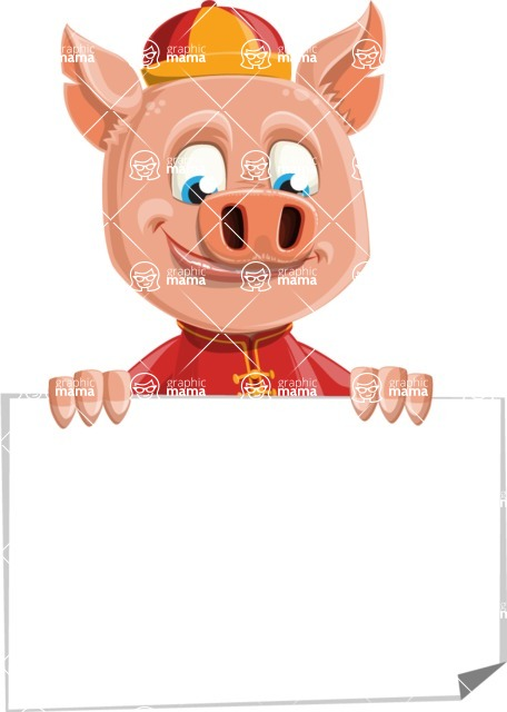 Year of the Pig Character - Vector Pig Cartoon - Sign 6