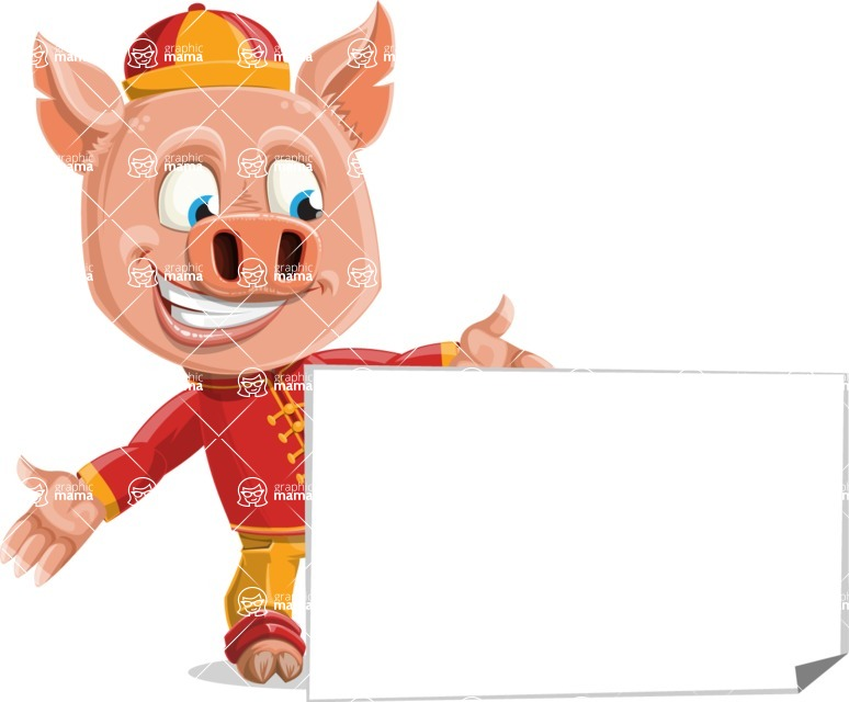 Year of the Pig Character - Vector Pig Cartoon - Sign 7