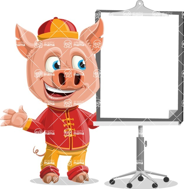 Year of the Pig Character - Vector Pig Cartoon - Presentation 1