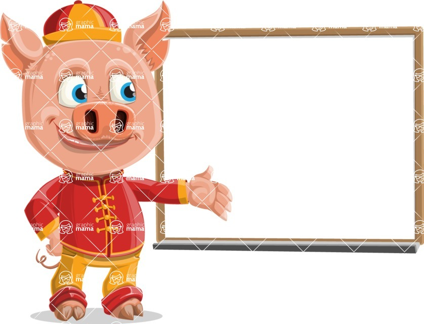 Year of the Pig Character - Vector Pig Cartoon - Presentation 3