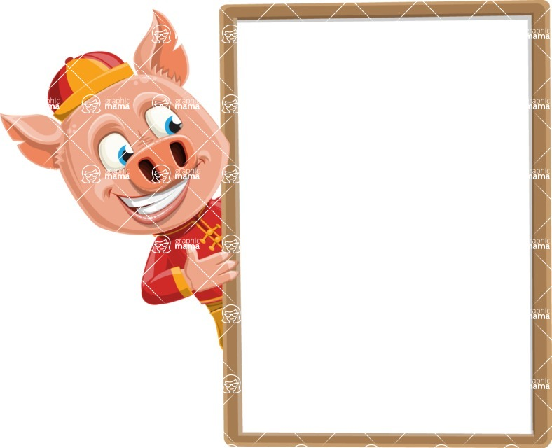Year of the Pig Character - Vector Pig Cartoon - Presentation 4