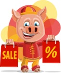 Year of the Pig Character - Vector Pig Cartoon - Shape 9