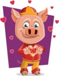 Year of the Pig Character - Vector Pig Cartoon - Shape 10